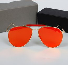 Wholesale 2016 TOM brand sunglasses reflective metal frame brand designer sunglasses women Retro vintage sunglass oculos de sol with box