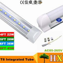 Wholesale 8 ft LED tube T8 Cree LED Fluorescent Tubes SMD2835 Integrated Replacement LED Tubes m W Warm Natural Cool White High Efficiency