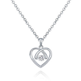Wholesale Dancing Style Sterling Silver Crystal Heart Pendant Necklace Women Fine Jewelry with Rhodium Plated Birthday Gift for Girlfriend DP89620A