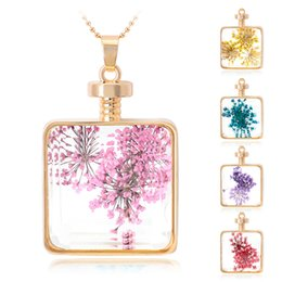 Wholesale Classical sweater chain coat chain Best gift necklace pendant glass necklace dried flower necklace gold pendant with chain AC347
