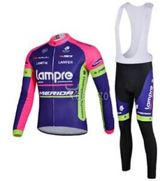 Wholesale Express Term Men lampre Bicycle Jersey Bike Cycling Clothes Long Sleeve Breathable Bicycle Clothing merior Cyclewear Winter Bib Pants