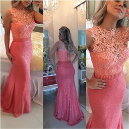 Elegant Lace Long Evening Dresses Bateau Neckline Coral Formal Mermaid Prom Dresses Red Carpet Runaway Celebrity Prom Dress