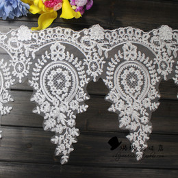 Ivory Embroidery Off-White Lace Trim for women dress Lace Appliques Sold by Yard 30cm Width Dress Accessories