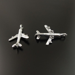 Wholesale Antique Style Silver Alloy Airplane Pendant Charm Necklace Bracelet DIY Craft mm jewelry making
