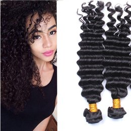 Brazilian deep Wave Hair Weaves Natural Black 3pcs Human Hair Extensions Brazilian Afro deep Wave Hair Weaves Cheap Hair Weaves