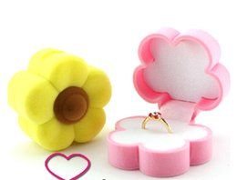 New Velvet Ring Box,yellow flower design, Jewelry Display Gift Case,sold per bag of 10 pcs