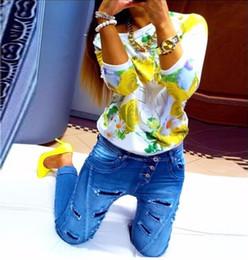 Promotion imprimé floral t-shirts femmes tops gros-femmes et tees 2016 Femme Automne Floral Print Cotton Sweatshirt Cadrage Pull Taille Plus Femme femmes Blouses shirt