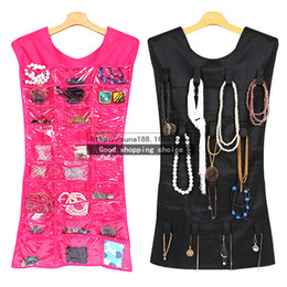Wholesale 1 pair Dress Shape Jewelry Earrings Fashion Accessories Hanging Storage Bag Organizer pockets and hook and loop tabs Hanging Dress