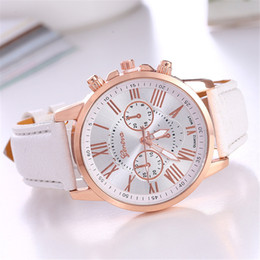 5Pcs Lot Wholesale New Fashion Geneva Women Leather Band Stainless Steel Quartz Analog Lady Wrist Watches Gift For Girl
