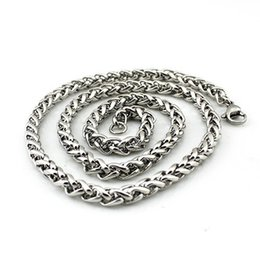 Wholesale Stainless steel jewelry Europe and the United States men s leisure silver necklace titanium steel basket twisted chains factor