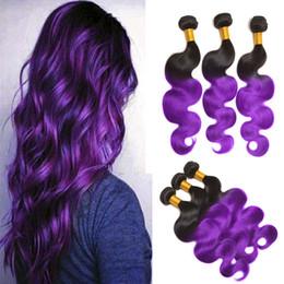 8A Brazilian Body Wave Ombre Color Two Tone 1B Purple 3 Pcs Hot Human Hair Extensions Wholesale Bellqueen Bundles Brazilian Hair