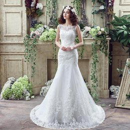 New Sexy Scoop Mermaid Wedding Dresses 2017 Romantic Bride Dresses Backless Sleeveless Lace Wedding Gown robe de mariage CPS247