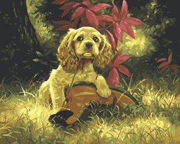 Wholesale Diy Digital Oil Painting On Canvas Pictures Painting By Numbers DIY Digital Oil Painting On Canvas Home Decoration Puppy And Shoes