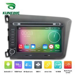 Descuento consola gris Estereofonia del coche del jugador de la navegación del coche DVD GPS del coche del androide 5.1.1 de la base 1024 * 600 del patio cuatro para Honda CIVIC 2012 Radio 3G Wifi BluetoothK KF-V2245Q