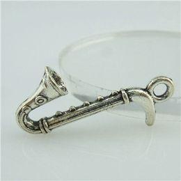 Wholesale 14788 Alloy Antique Silver Vintage Musical Instrument Saxophone Pendant