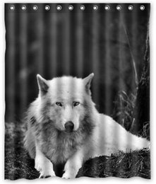 Wholesale Wolves White wolf Animals Bathroom products Fabric Bath Shower Curtain x180cm Home Decor