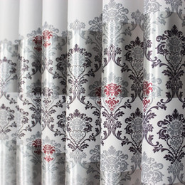Wholesale On sale Curtain Blackout Curtains For living Room For Hotel Luxury Tulle Sheer Curtains Ready Made Window Treatment Drape Grey