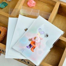 Wholesale 100pcs cm White Plastic Bag Dessert Biscuit Padking Bags Gift Bags Lovely Bear Bags Cookies Dessert Soap Baking Bags OPP Ziplock