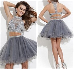 Wholesale Sparkly Mini Prom Dress - Real Images Homecoming Dresses Cheap Two-pieces Crystals Sparkly Short Prom Gowns High Neckv A Line Party Cocktail Dress