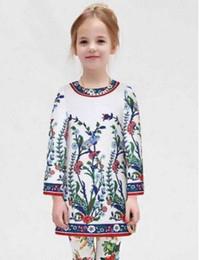 Wholesale High End Luxury Brand Designer Wl Monsoon Winter Girls Dress Dobby Floral White Beading Dress Children Clothing Baby Girl