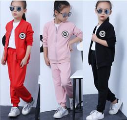 Wholesale Kid Clothing Logo - 2016 Autumn Winter Big Girl Clothing 2pcs Set Solid Logo Printed Jacket + Pants Outfits Kids Clothes Sportsuit Q0152