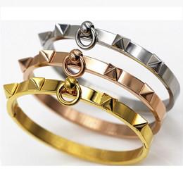 Fashion Jewelry Gold Plated Silver Plated Punk Bracelet Vintage Rivets Nail Bracelet Bangle