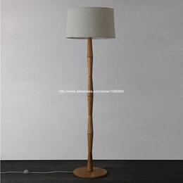 Wholesale Modern Bamboo Slub Wooden Floor Lamp Wood Color Floor Light Bedroom Bedside Standard Lighting