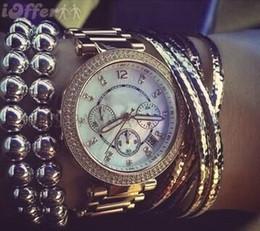 Wholesale M brand diamond Japan movement quartz wrist Gold stainless steel Relojes Business fashion Men women Top quality golden silver wristwatches
