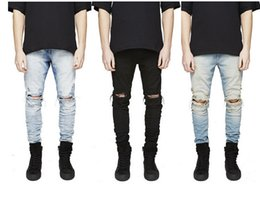 Wholesale Fashion new hot men designer jeans famous brand Biker jeans men distressed jeans ripped denim mens cut Slim Fit Pants Trousers