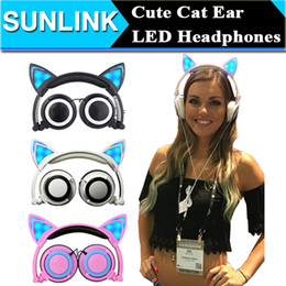 Wholesale Foldable Flashing Glowing Cute Cat Ear Headphones Gaming Headset Earphone with LED light For PC Laptop Computer Mobile Phone
