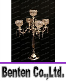 Promotion pendeloques de cristal 75 cm candelabras or métallique hauteur 5-bras avec pendeloques de cristal mariage bougeoir pièce maîtresse de l'événement LLFA11