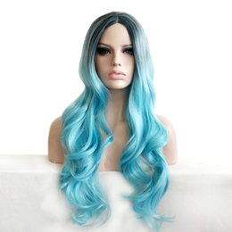 Wholesale cheap women african american celebrity wigs cosplay wig long curly synthetic hair wigs heat resistant black root wig ombre blue