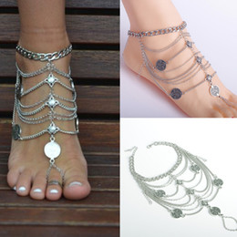 Wholesale Shoe Decoration Chain Women Ankle Bracelet Foot Jewelry Anklet Barefoot Sandals Foot chains Bangle for flip flops Tassel Beach