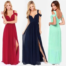 Wholesale Long Bridesmaid Dresses Chiffon Artistic Straps V Neck Sexy Side Splits Evening Dresses Floor Length Off The Shoulder Formal Gowns WB