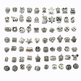 Wholesale Cube Letter Beads Red - Wholesale 100Pcs Mix Silver Big Hole Beads Loose Beads Clearance Charms Fits Pandora Bracelets For Diy European Necklace Jewelry Accessories