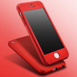 Plaque d'écran en Ligne-Slim Mat Couverture en métal rouge pour Apple iPhone 7 6 5 5S SE Hard PC 360 degrés Full Body Case + Protecteur d'écran en verre gratuit
