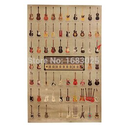 Wholesale Large Vintage Style Kraft Wall Retro Guitar World Music Hero Rock band Paper Poster Gifts Home Decoration x Inch x46cm