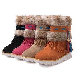 Wholesale Colorful Winter Boots Women - Women Flat Tassel Colorful Snow Boots Mid Calf Slip on Plush Half Boots Women Warm Winter Shoes Size 33-44