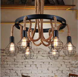 2016 Luxury Retro rope Industrial pendant Lights edison Vintage Restaurant Living bar Light American Style nordic fixtures lighting