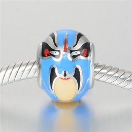 Wholesale GW beijing opera masks Charms beads made from sterling silver fit pandora style bracelets for women makeup jewelry No70 lw D145