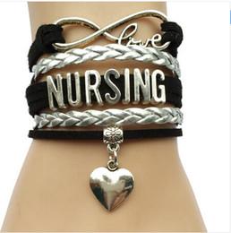 Wholesale Infinity Love Nursing Bracelet Career Job Business Team Gift Heart Charm Leather Velvet Handmade Brand New And High quality