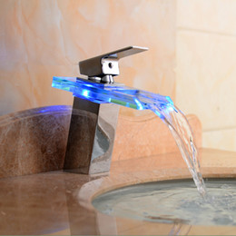 Wholesale Factory direct sale LED Light Glass Waterfall Basin Faucet for Bathroom Mixer tap basin faucet