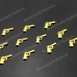 *New*100pc Cool Punk Gold Color Gun Nail Decoration Metal Shinny Pistol Metal Nail Art Decoration Nail Charms For UV Gel Polish