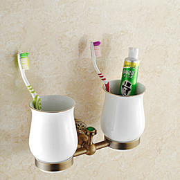 Wholesale Antique Copper European Toothbrush Holder Tumbler Porcelain Wall Mounted Bathroom Accessories With Double Ceramic Cup