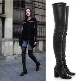 Wholesale Newest Chunky Heel Stretch Over The Knee Boots Women Artificial Leather Sexy Black Long Boots Winter High Heel Shoes Femme