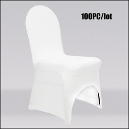 Wholesale 100PC Wedding Chair Covers Polyester Universal White Lycra Elastic Chair Seat Cover for Wedding Hotel Ceremony Outdoor Party Chair Covering