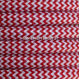 Wholesale mm Copper Cloth Covered braided cable Vintage Style Lamp Cord FABRIC Round ELECTR WIRE Zig zag