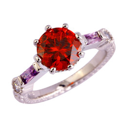 New handmade red garnet 18K White Gold Plated Silver Ring Size 6 7 8 9 10 11 Fashion Jewelry women Free Shipping Wholesale
