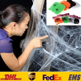Wholesale New Stretchy Spider Web Cobweb With Spider For Halloween Party KTV Bar Props Ball Costume Decoration Supplies HH W01
