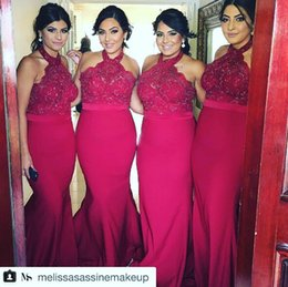 Custom Made Lace Applique Halter Burgundy Mermaid SexyBridesmaid Dresses No Sleeve Floor Length Long Elegant Evening Prom Dress Gowns Cheap